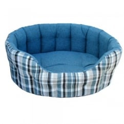 Oval Plaid Design Antibacterial Softee Bed Size 61x51x22cm Aqua