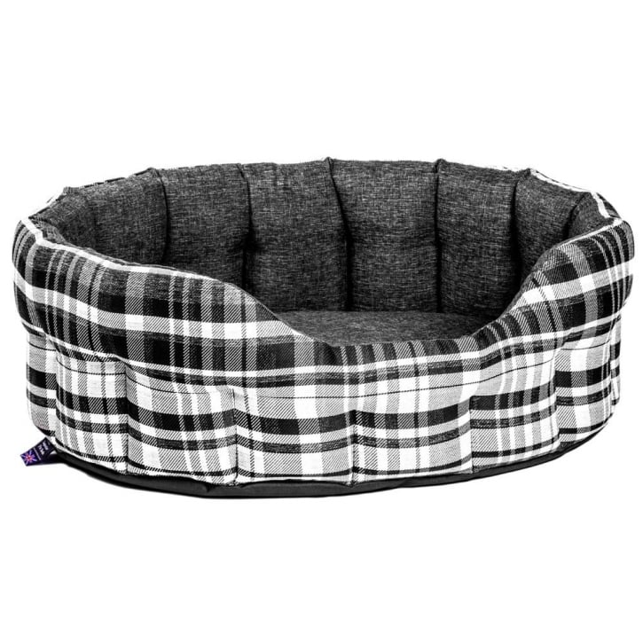 P & L Superior Pet Beds Oval Plaid Design Antibacterial Softee Bed Size 76x64x24cm Noir