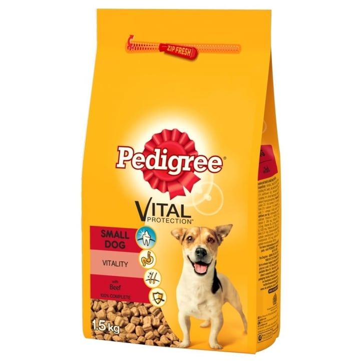 Pedigree Complete Adult Small Breed Dog Food- Beef & Veg 1.5kg