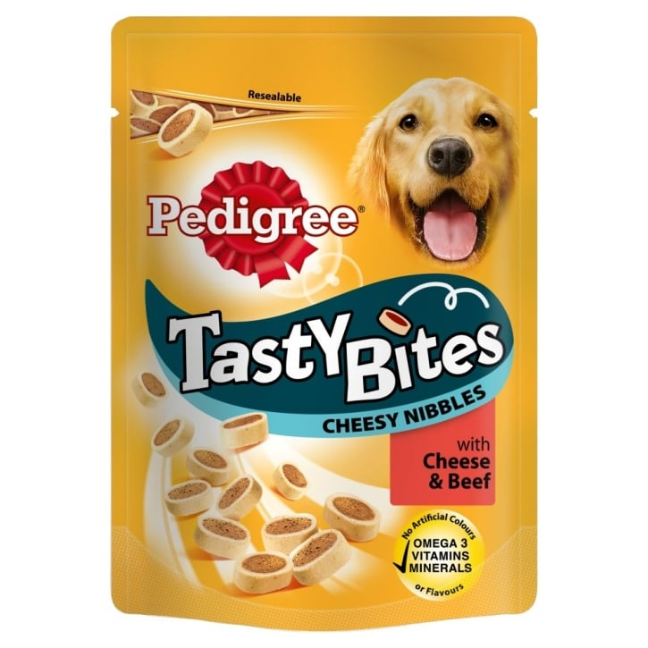Pedigree Tasty Bites Cheesy Nibbles Dog Treat with Cheese & Beef 140gm