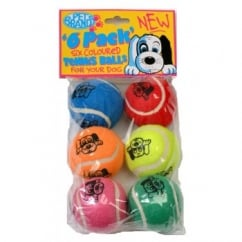 Pet Brands Coloured Tennis Balls Dog Play Toy - Pack 6