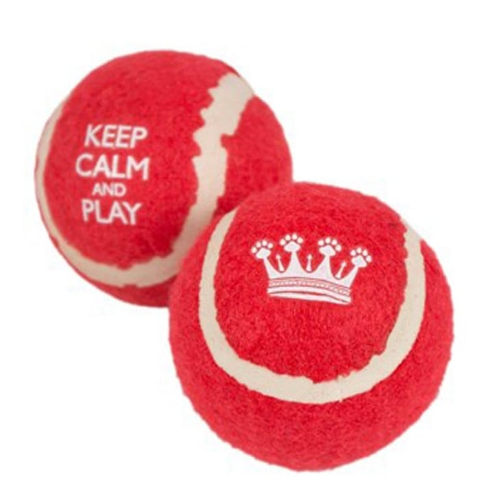 Pet Brands Keep Calm and Play Tennis Balls Dog Toy - Pack 2