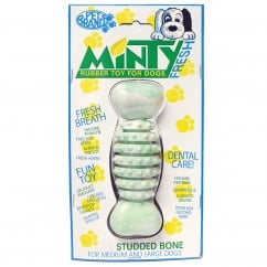Minty Fresh Rubber Studded Bone Dog Toy Regular