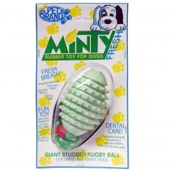 Minty Fresh Rubber Studded Rugby Ball with Rope Dog Toy Giant