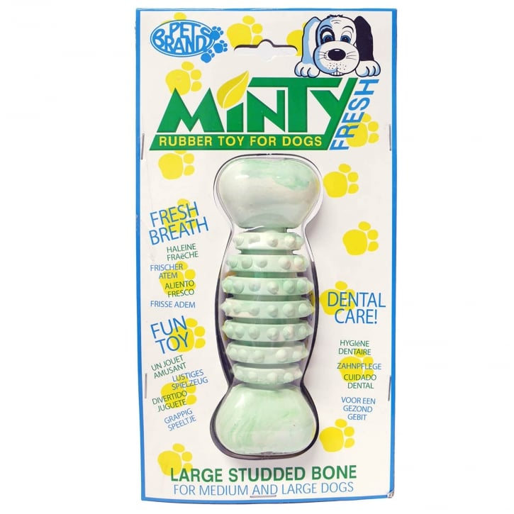 Pet Brands Minty Fresh Rubber Studded Rugby Bone Dog Toy Large