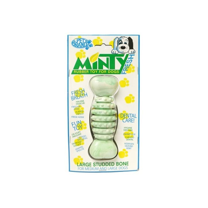 Pet Brands Minty Fresh Rubber Studded Rugby Bone Dog Toy - Large