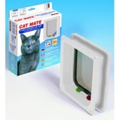 Pet Mate Cat Mate 4 Way Locking Cat Flap With Door Liner - White