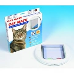 Cat Mate Glass Fitting 4 Way Locking Cat Flap 210 White