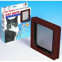 Cat Mate New 4 Way Locking Cat Flap Brown