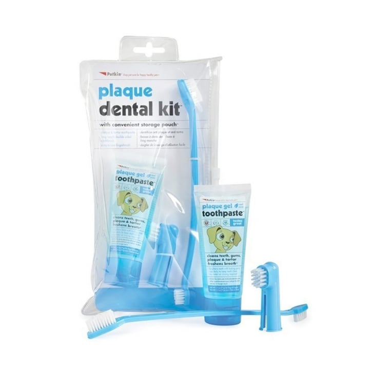 Petkin Plaque Dental Kit & Storage Pouch