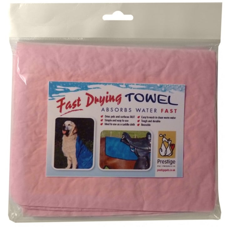 Prestige Pet Fast Drying Pet Towel Pink Medium