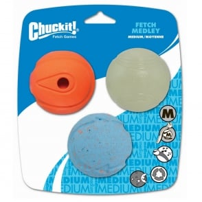 Chuckit! Fetch Medley Assorted Balls Medium 3 Pack