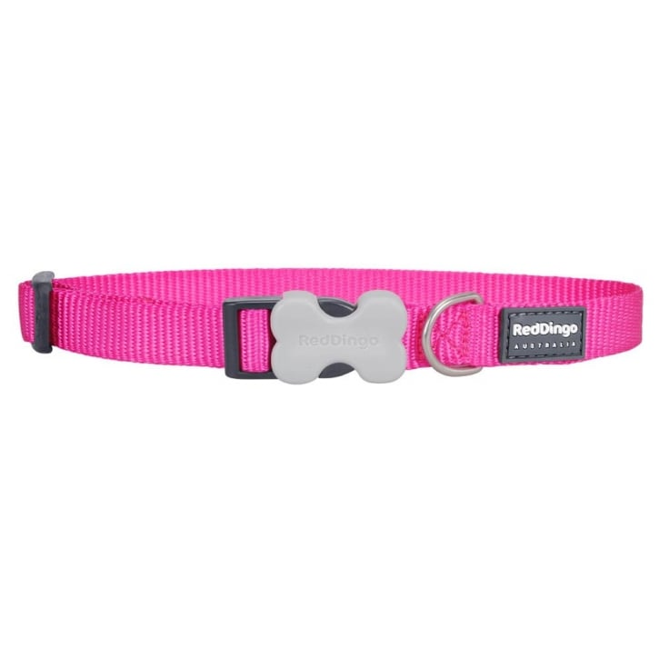 Red Dingo Classic Hot Pink Plain Nylon Dog Collar - Small