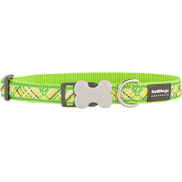 Red Dingo Flanno Lime Green Nylon Dog Collar - X Small