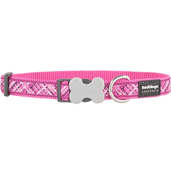 Red Dingo Flanno Nylon Dog Collar Hot Pink - Medium