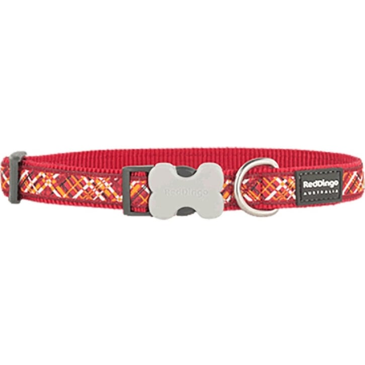 Red Dingo Flanno Nylon Dog Collar Red - Large