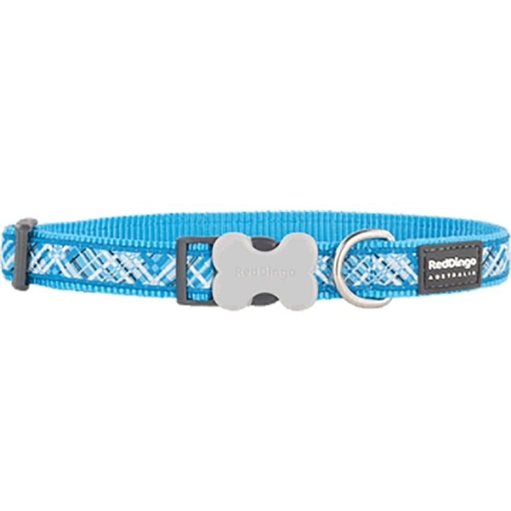 Red Dingo Flanno Nylon Dog Collar Turquoise - Medium