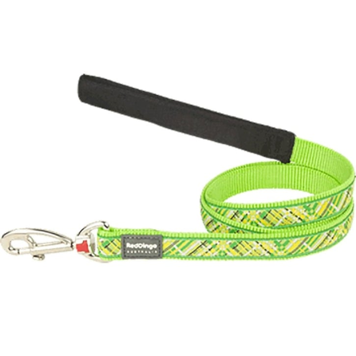 Red Dingo Nylon Flanno Lime Green Dog Lead 15mm x 1.2m Small