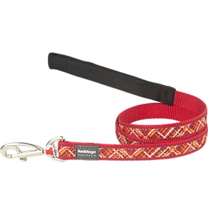 Red Dingo Nylon Flanno Red Dog Lead 15mm x 1.2m Small