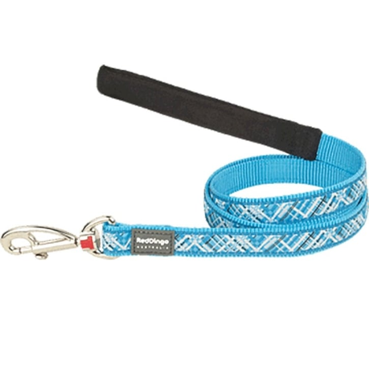 Red Dingo Nylon Flanno Turquoise Dog Lead 25mm x 1.2m Large