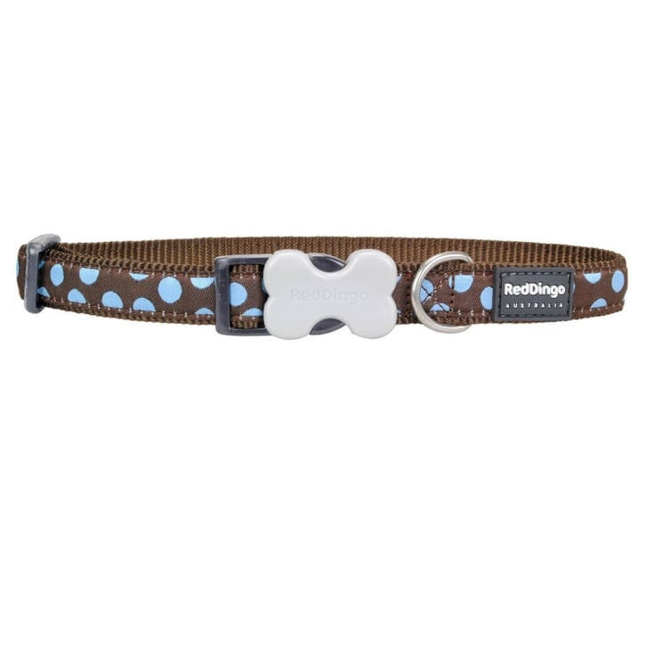 Red Dingo Patterned Nylon Blue Spots on Brown Dog Collar - Medium