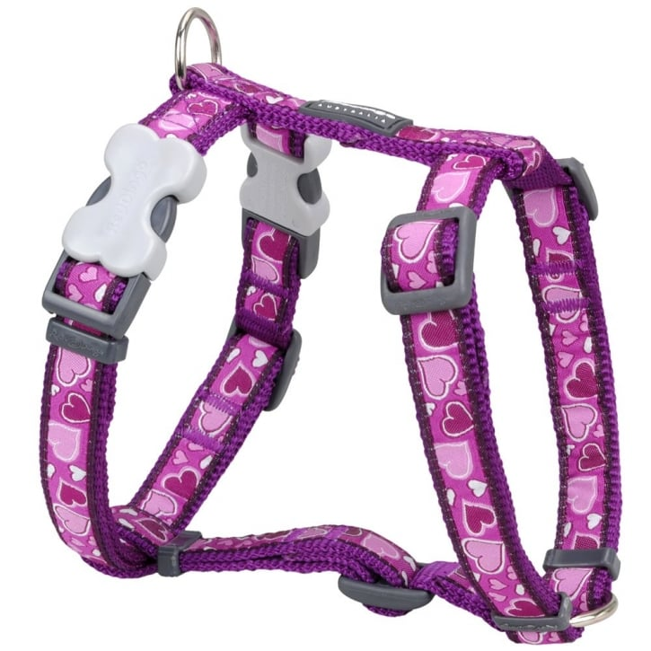 Red Dingo Patterned Nylon Dog Harness Breezy Love Small Purple