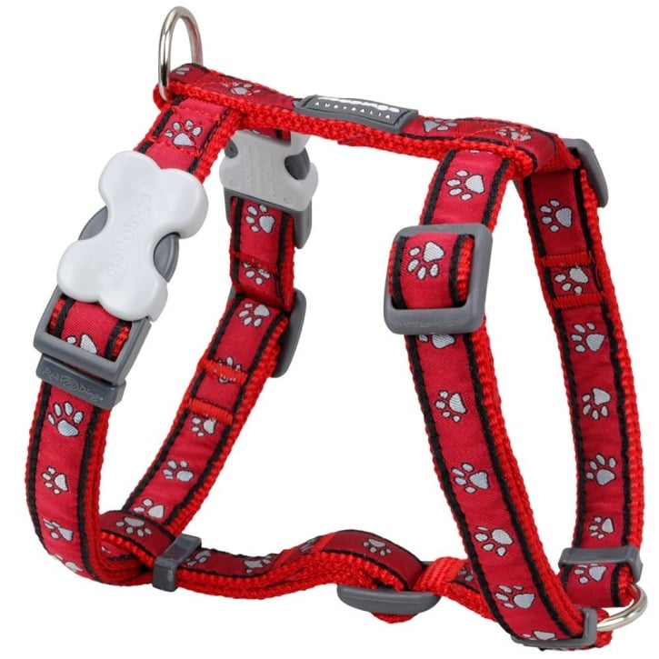 Red Dingo Patterned Nylon Dog Harness Pawprint Medium Red