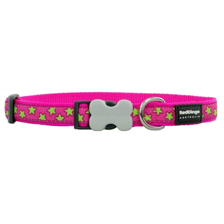 Red Dingo Patterned Nylon Lime Star on Hot Pink Dog Collar - Medium