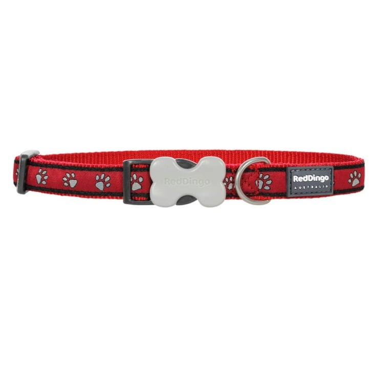 Red Dingo Patterned Nylon Pawprint Red Dog Collar - Medium