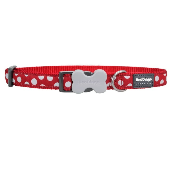 Red Dingo Patterned Nylon White Spots on Red Dog Collar - Medium