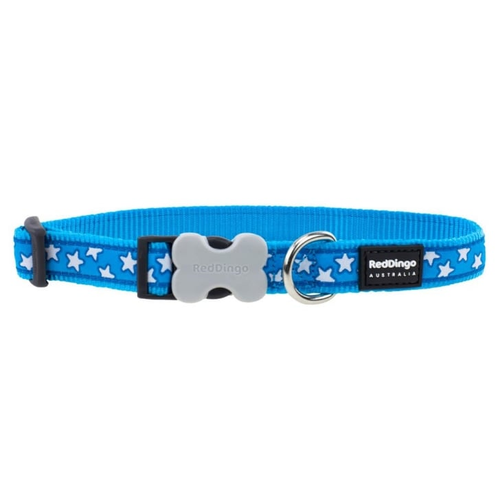 Red Dingo Patterned Nylon White Star on Turquoise Dog Collar - Medium