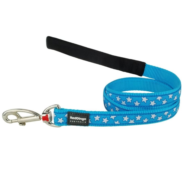 Red Dingo Patterned Nylon White Stars on Turquoise Dog Lead 25mm x 1.2m Large