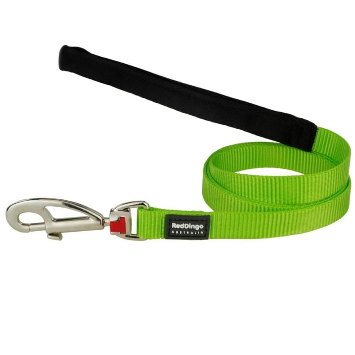 Red Dingo Plain Classic Nylon Lime Green Dog Lead 18mm x 1.2m Medium