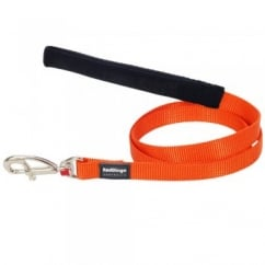 Red Dingo Plain Classic Nylon Orange Dog Lead 12mm x 1.2m Small