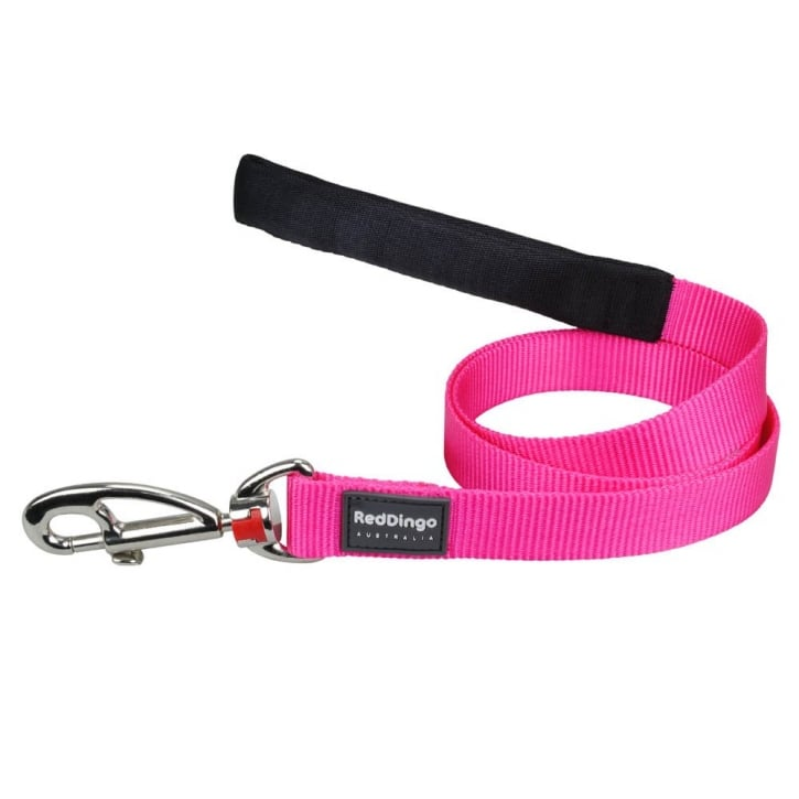 Red Dingo Plain Classic Nylon Hot Pink Dog Lead 12mm x 1.2m Small