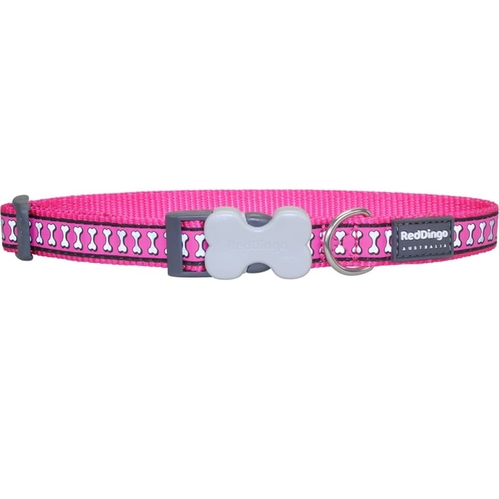 Red Dingo Reflective Nylon Dog Collar Hot Pink Medium