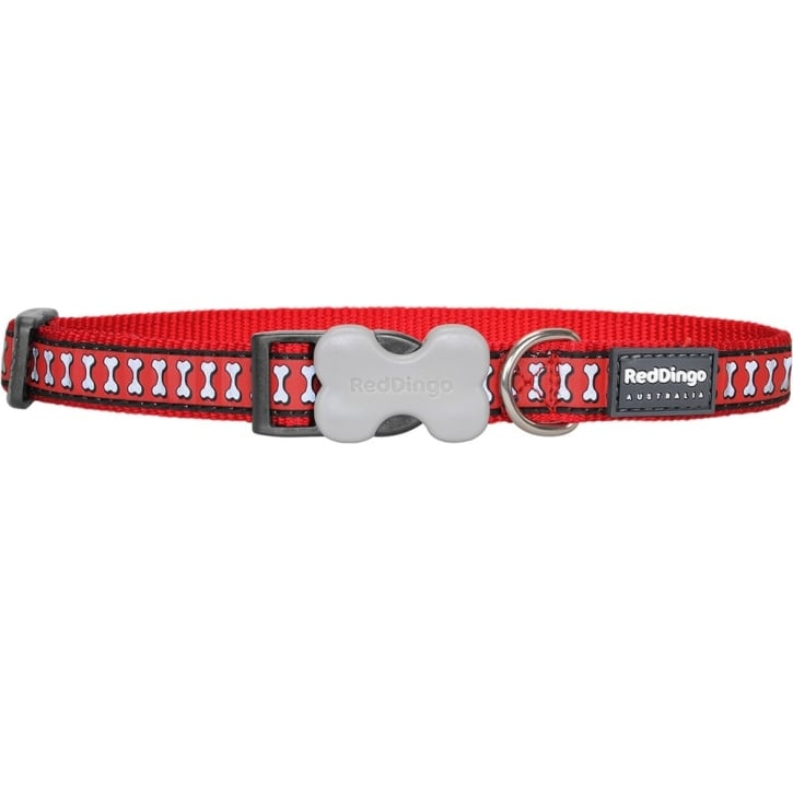 Red Dingo Reflective Nylon Dog Collar Red Medium