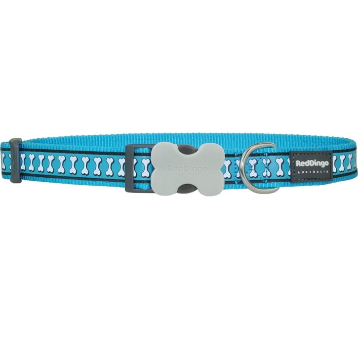Red Dingo Reflective Nylon Dog Collar Turquoise Large