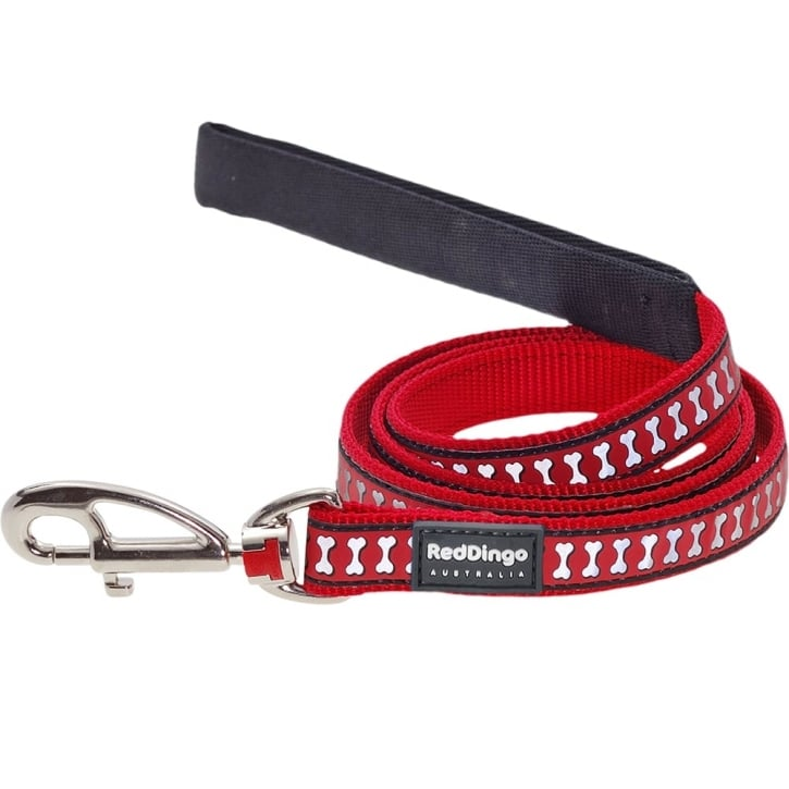 Red Dingo Reflective Nylon Dog Lead Red Large 25mm x 1.2m