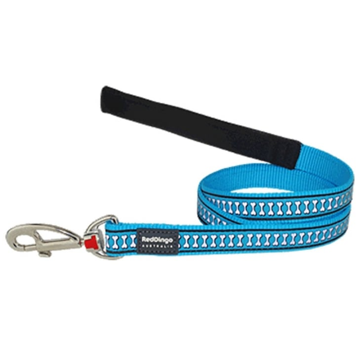 Red Dingo Reflective Nylon Dog Lead Turquoise Large 25mm x 1.2m