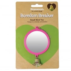 Boredom Breaker Round Mirror with Bell Bird Toy