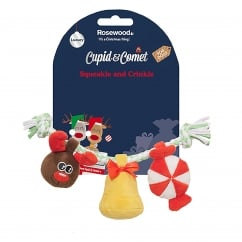 Cupid & Comet Festive Luxury Twisty Squeakle And Crinkle Dog Toy