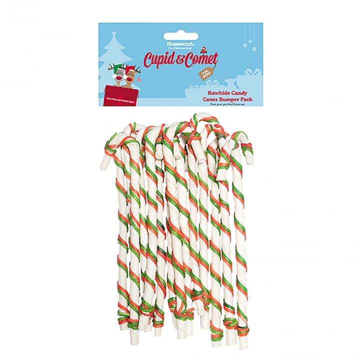 Rosewood Cupid & Comet Festive Rawhide Candy Canes Bumper Pack Dog Chews