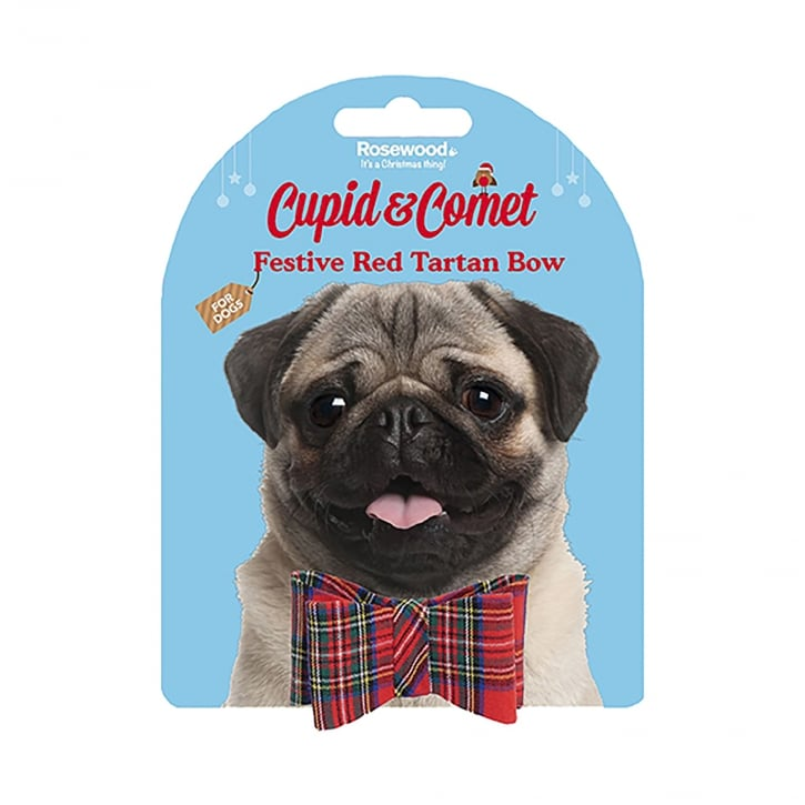 Rosewood Cupid & Comet Festive Red Tartan Dog Bow Small