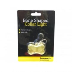 Rosewood Bone Shaped Flashing Dog Collar Light