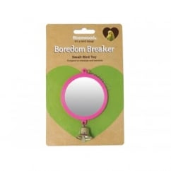 Rosewood Pet Products Boredom Breaker Round Mirror with Bell Bird Toy