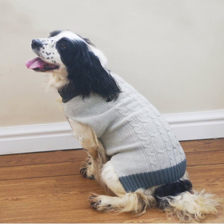 Rosewood Knitted/Fur Collar Dog Sweater Grey Large