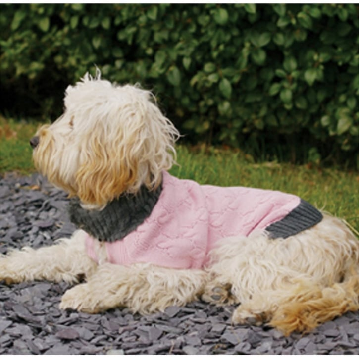 Rosewood Knitted/Fur Collar Dog Sweater Pink Small