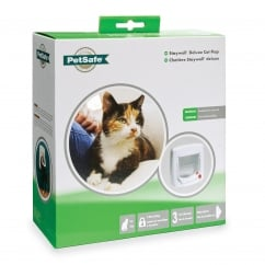 Staywell 4-Way Locking Deluxe Cat Flap White - 300EF