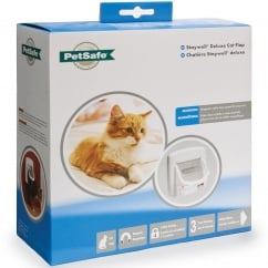 Magnetic 4-Way Locking Deluxe Cat Flap White - 400EF